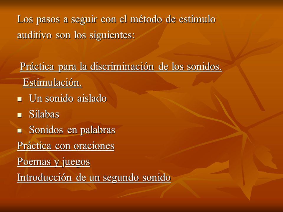 Los pasos a seguir con el método de estímulo auditivo son los siguientes: Práctica para la discriminación de los sonidos. Práctica para la discriminac