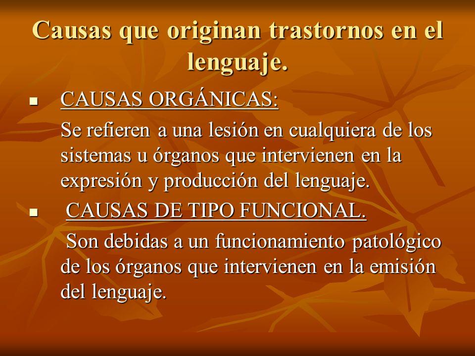 Causas que originan trastornos en el lenguaje. CAUSAS ORGÁNICAS: CAUSAS ORGÁNICAS: Se refieren a una lesión en cualquiera de los sistemas u órganos qu