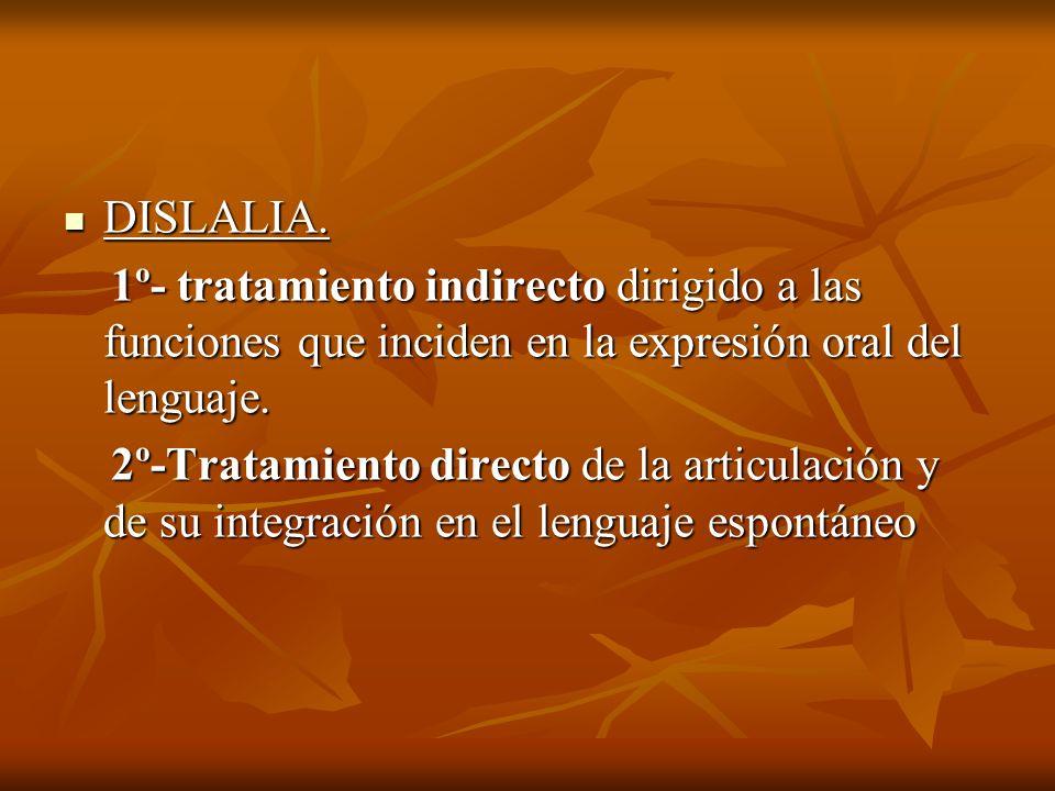 DISLALIA. DISLALIA. 1º- tratamiento indirecto dirigido a las funciones que inciden en la expresión oral del lenguaje. 1º- tratamiento indirecto dirigi
