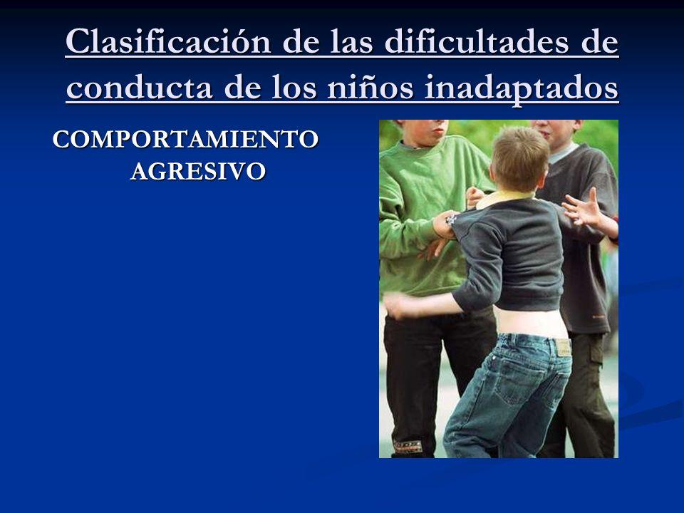 Clasificación de las dificultades de conducta de los niños inadaptados COMPORTAMIENTO AGRESIVO