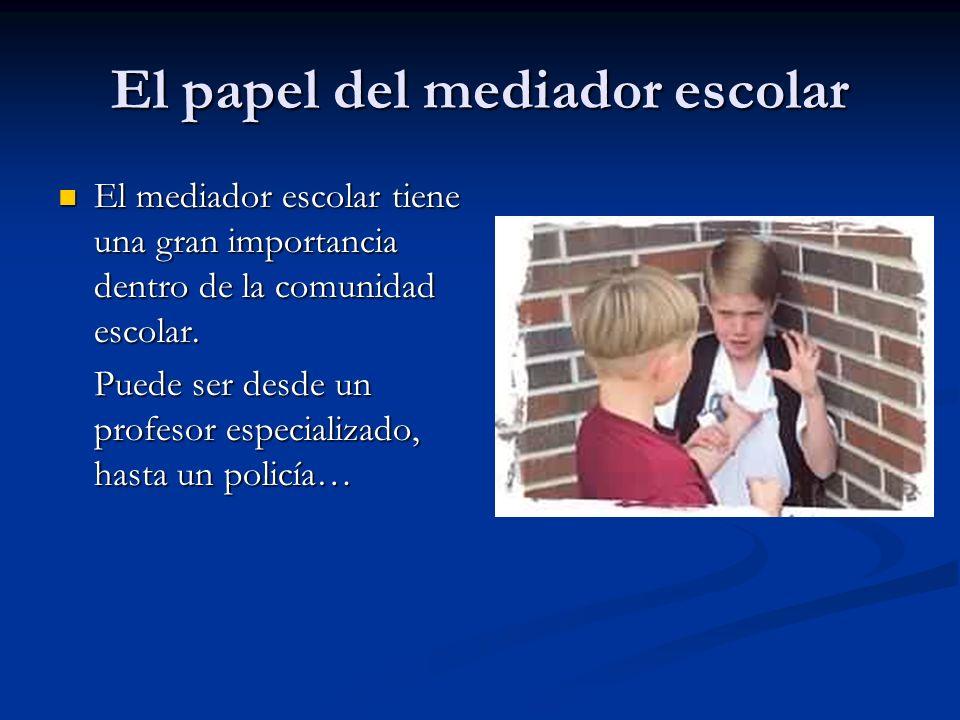 El papel del mediador escolar El mediador escolar tiene una gran importancia dentro de la comunidad escolar. El mediador escolar tiene una gran import