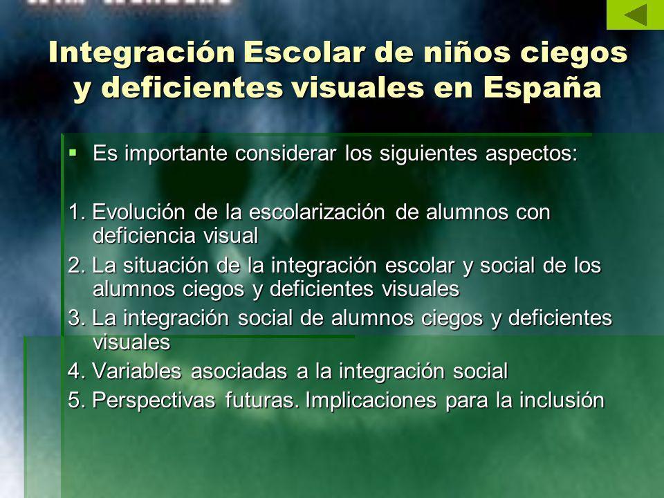Integración Escolar de niños ciegos y deficientes visuales en España Es importante considerar los siguientes aspectos: Es importante considerar los si