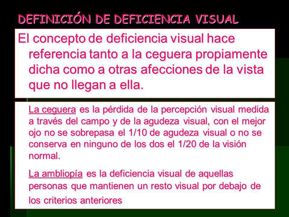DEFINICIÓN DE DEFICIENCIA VISUAL El concepto de deficiencia visual hace referencia tanto a la ceguera propiamente dicha como a otras afecciones de la