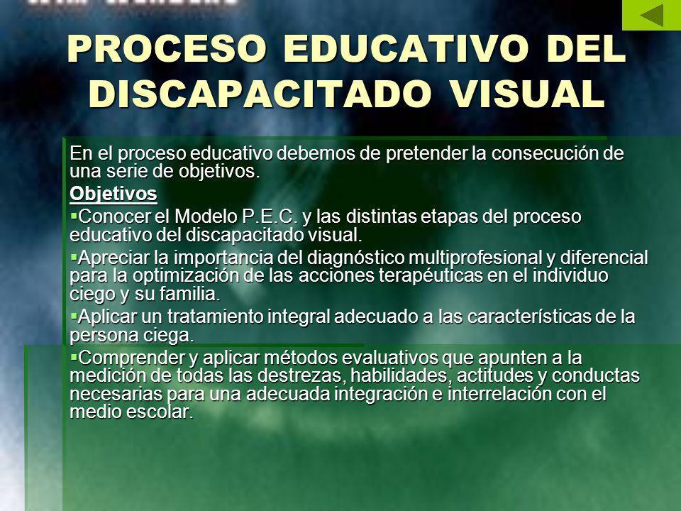 PROCESO EDUCATIVO DEL DISCAPACITADO VISUAL En el proceso educativo debemos de pretender la consecución de una serie de objetivos. Objetivos Conocer el