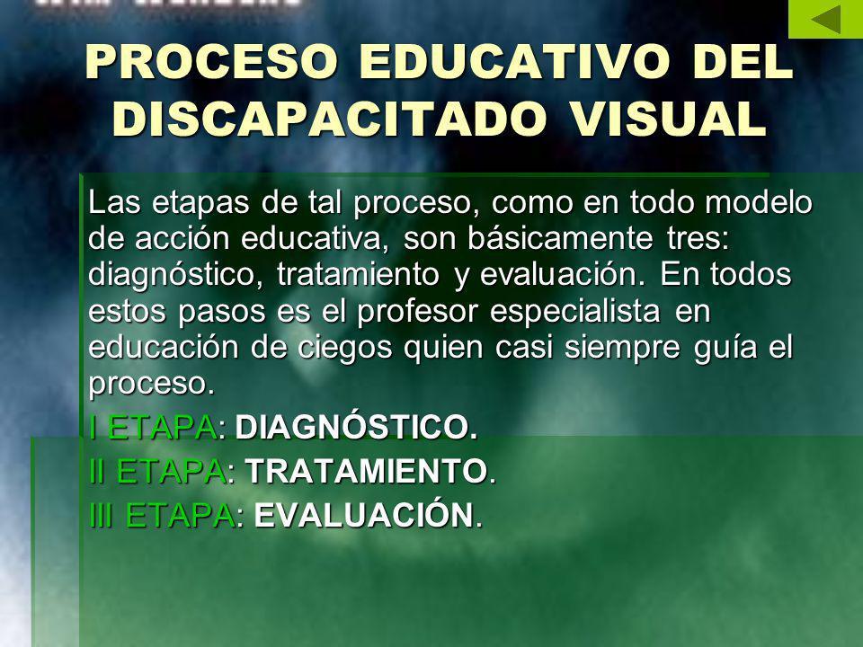 PROCESO EDUCATIVO DEL DISCAPACITADO VISUAL Las etapas de tal proceso, como en todo modelo de acción educativa, son básicamente tres: diagnóstico, trat