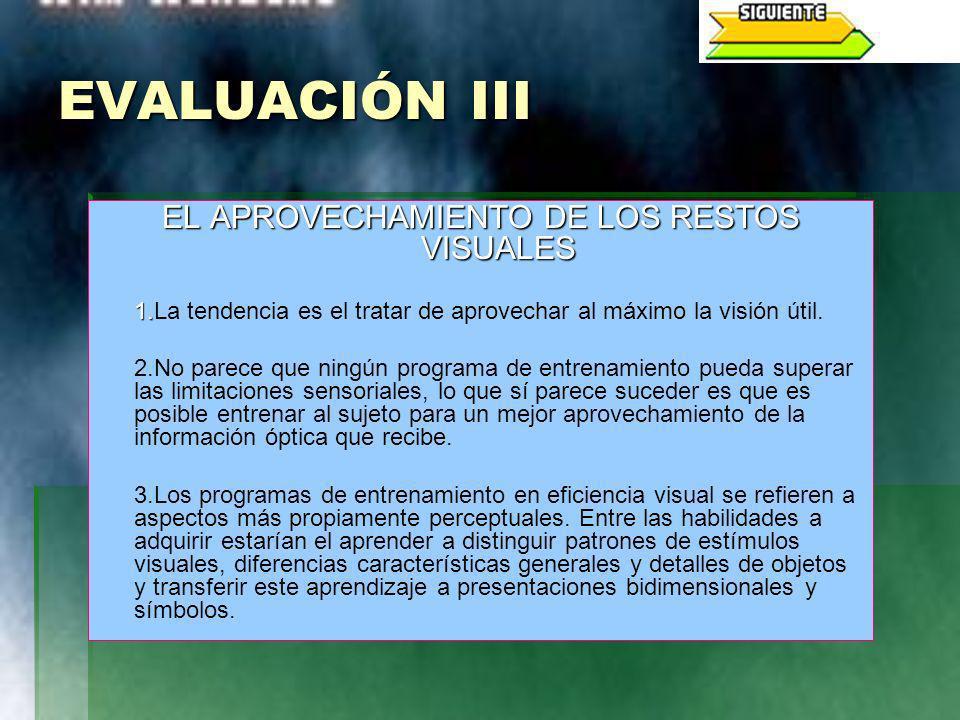 EVALUACIÓN III EL APROVECHAMIENTO DE LOS RESTOS VISUALES 1. 1.La tendencia es el tratar de aprovechar al máximo la visión útil. 2.No parece que ningún