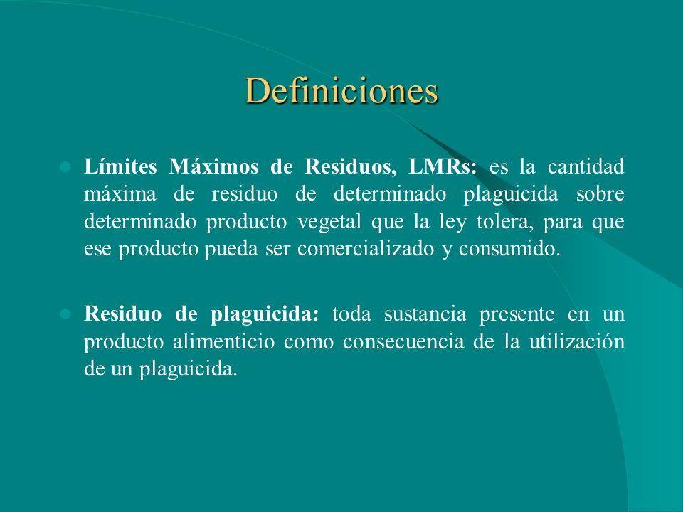 Definiciones Límites Máximos de Residuos, LMRs: es la cantidad máxima de residuo de determinado plaguicida sobre determinado producto vegetal que la ley tolera, para que ese producto pueda ser comercializado y consumido.