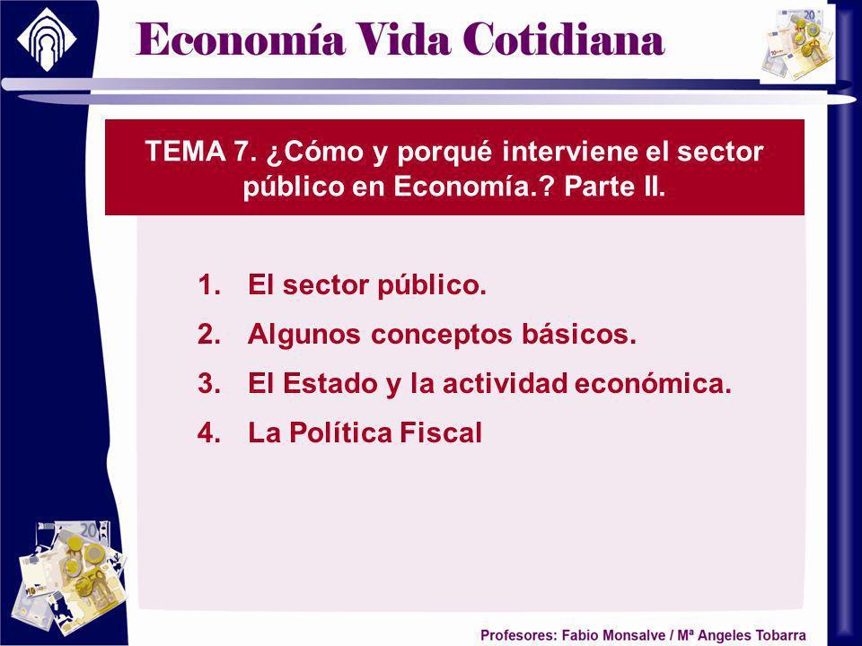 TEMA 7. ¿Cómo y porqué interviene el sector público en Economía.? Parte II. 1.El sector público. 2.Algunos conceptos básicos. 3.El Estado y la activid