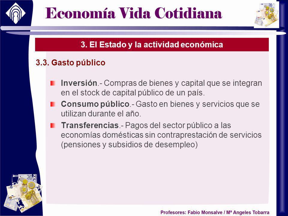 3. El Estado y la actividad económica Inversión.- Compras de bienes y capital que se integran en el stock de capital público de un país. Consumo públi