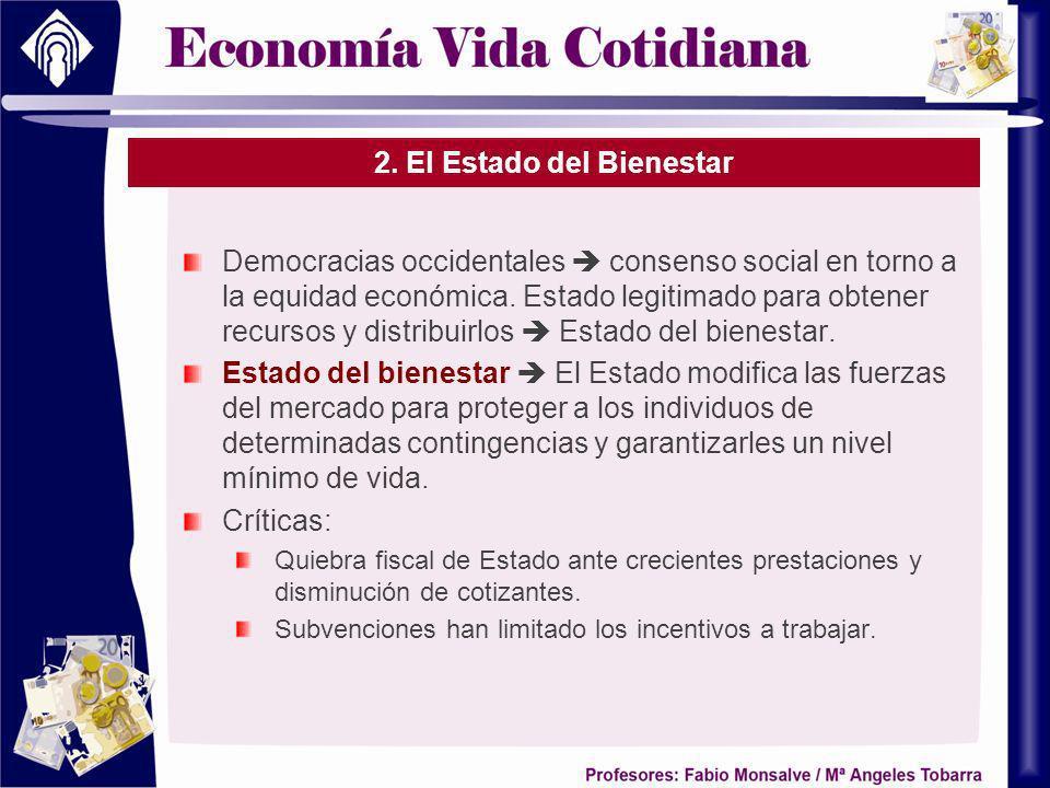 2. El Estado del Bienestar Democracias occidentales consenso social en torno a la equidad económica. Estado legitimado para obtener recursos y distrib