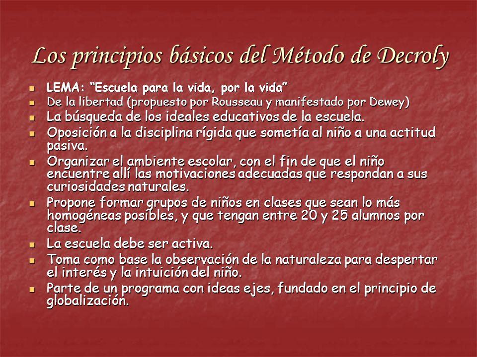 Los principios básicos del Método de Decroly LEMA: Escuela para la vida, por la vida LEMA: Escuela para la vida, por la vida De la libertad (propuesto