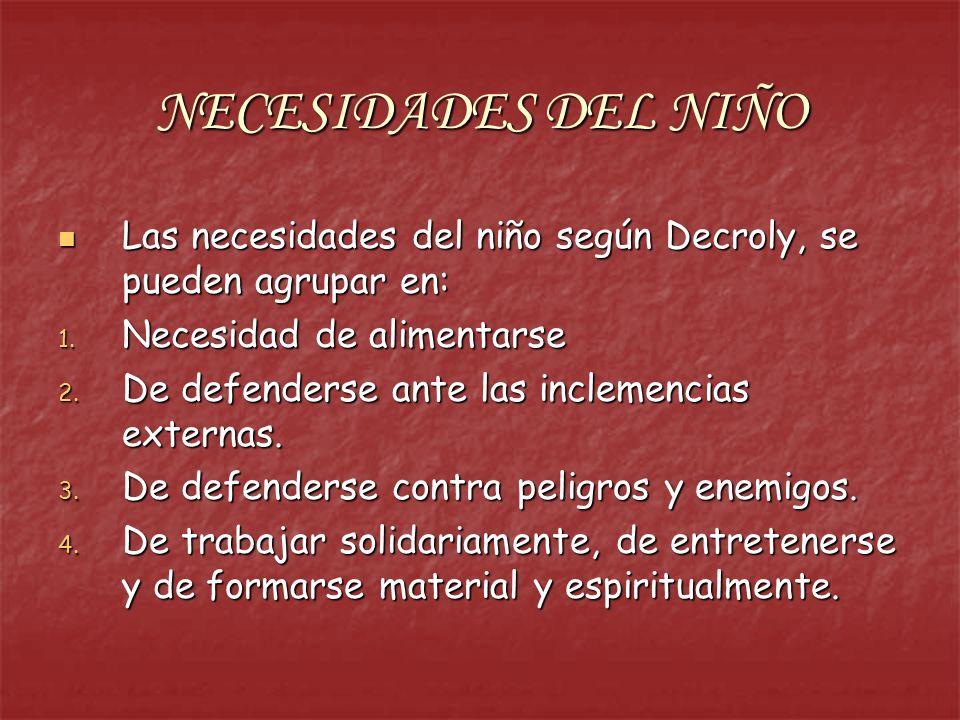 NECESIDADES DEL NIÑO Las necesidades del niño según Decroly, se pueden agrupar en: Las necesidades del niño según Decroly, se pueden agrupar en: 1. Ne