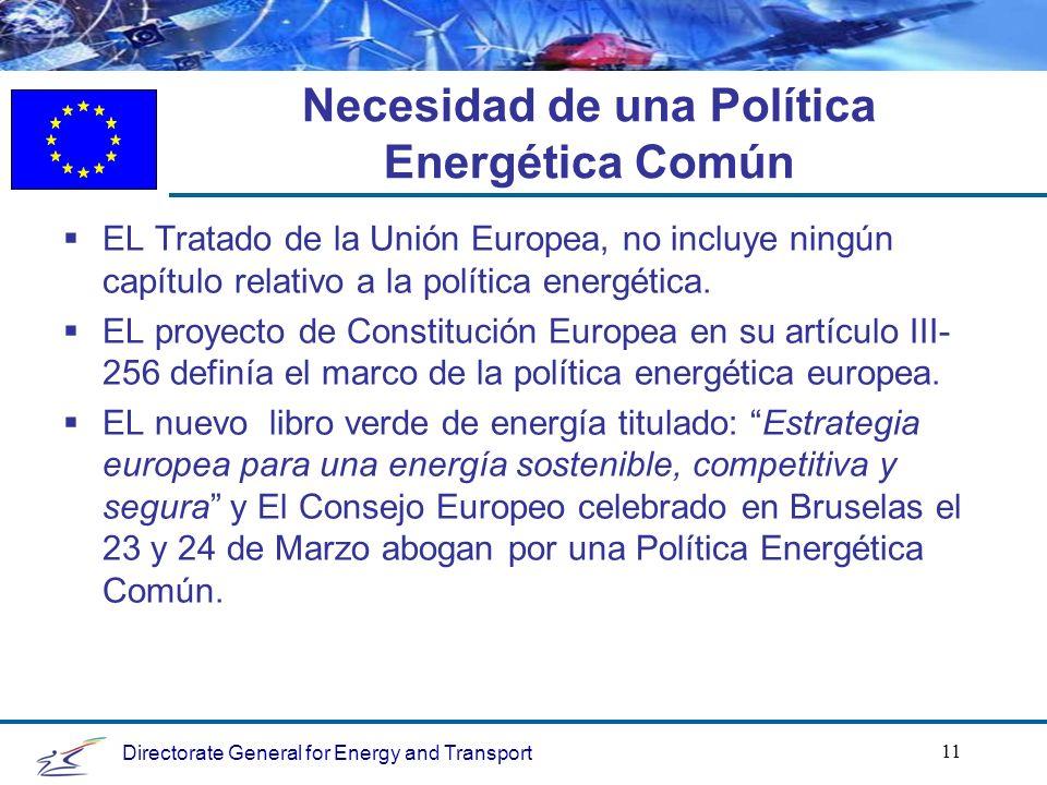 Directorate General for Energy and Transport 11 Necesidad de una Política Energética Común EL Tratado de la Unión Europea, no incluye ningún capítulo relativo a la política energética.
