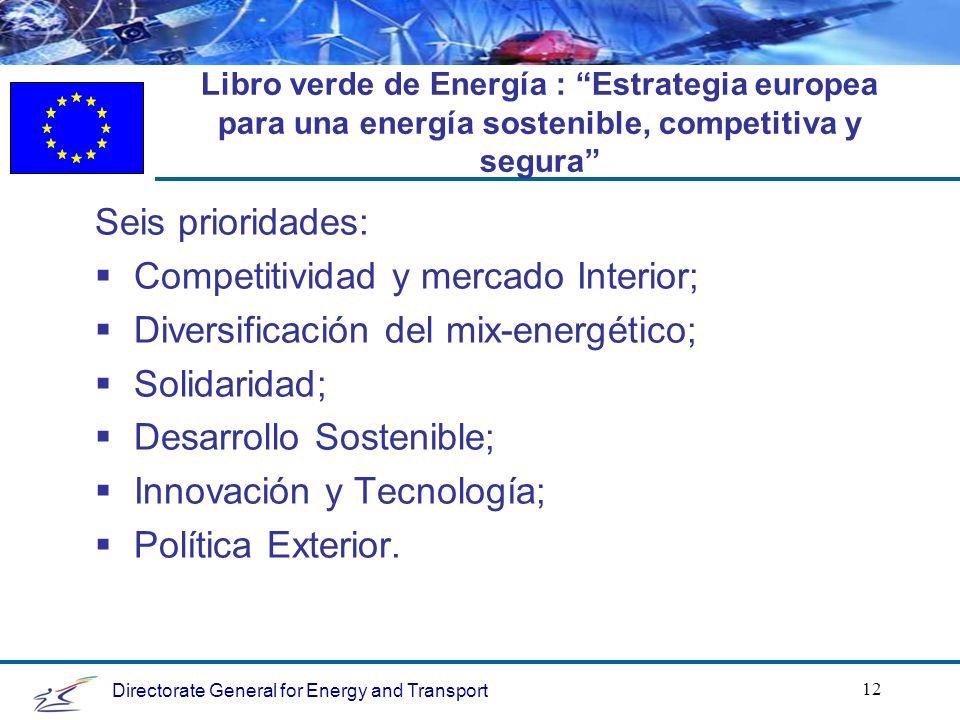 Directorate General for Energy and Transport 12 Libro verde de Energía : Estrategia europea para una energía sostenible, competitiva y segura Seis prioridades: Competitividad y mercado Interior; Diversificación del mix-energético; Solidaridad; Desarrollo Sostenible; Innovación y Tecnología; Política Exterior.