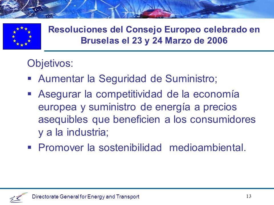 Directorate General for Energy and Transport 13 Resoluciones del Consejo Europeo celebrado en Bruselas el 23 y 24 Marzo de 2006 Objetivos: Aumentar la Seguridad de Suministro; Asegurar la competitividad de la economía europea y suministro de energía a precios asequibles que beneficien a los consumidores y a la industria; Promover la sostenibilidad medioambiental.