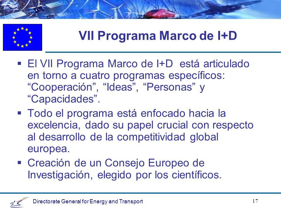 Directorate General for Energy and Transport 17 VII Programa Marco de I+D El VII Programa Marco de I+D está articulado en torno a cuatro programas específicos: Cooperación, Ideas, Personas y Capacidades.