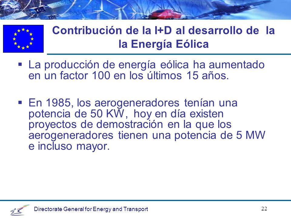 Directorate General for Energy and Transport 22 Contribución de la I+D al desarrollo de la la Energía Eólica La producción de energía eólica ha aumentado en un factor 100 en los últimos 15 años.