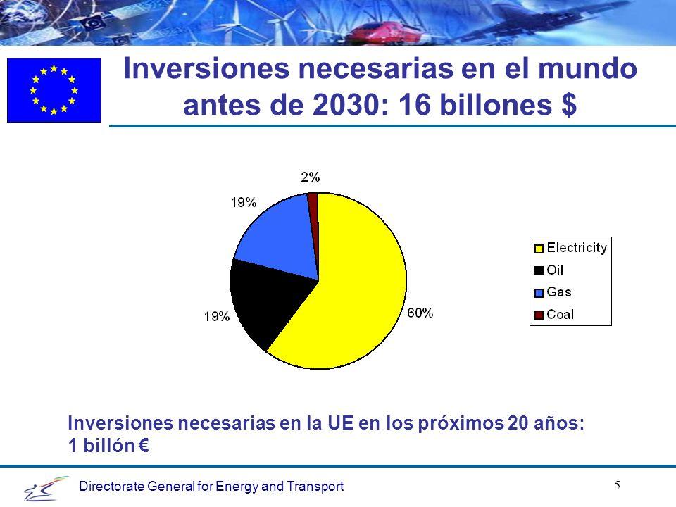 Directorate General for Energy and Transport 5 Inversiones necesarias en el mundo antes de 2030: 16 billones $ Inversiones necesarias en la UE en los próximos 20 años: 1 billón