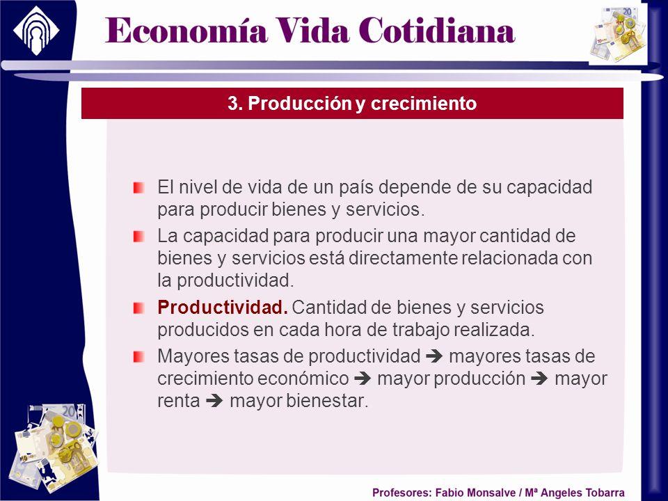 3. Producción y crecimiento El nivel de vida de un país depende de su capacidad para producir bienes y servicios. La capacidad para producir una mayor