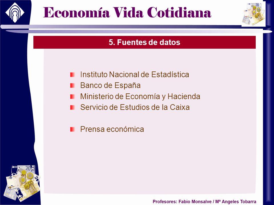 5. Fuentes de datos Instituto Nacional de Estadística Banco de España Ministerio de Economía y Hacienda Servicio de Estudios de la Caixa Prensa económ