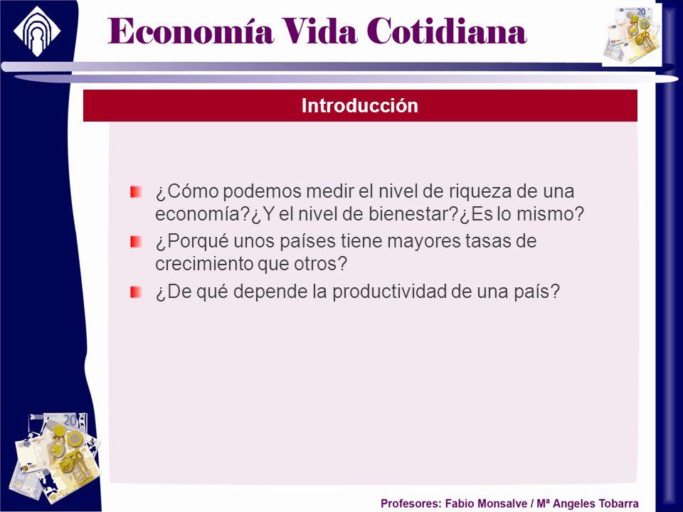 Introducción ¿Cómo podemos medir el nivel de riqueza de una economía?¿Y el nivel de bienestar?¿Es lo mismo? ¿Porqué unos países tiene mayores tasas de