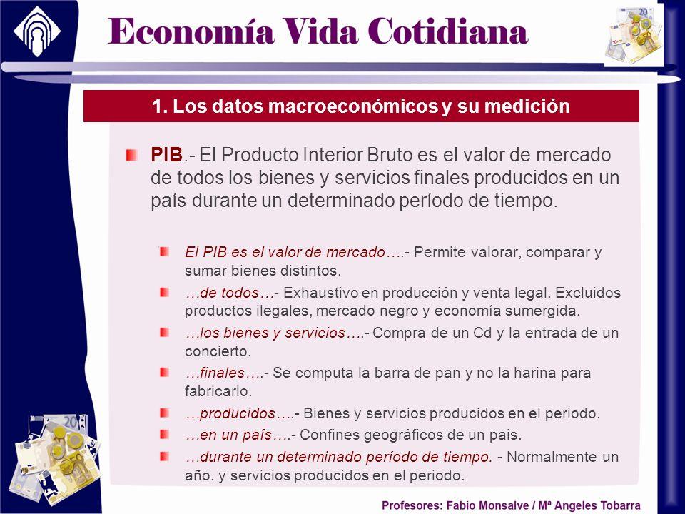 1. Los datos macroeconómicos y su medición PIB.- El Producto Interior Bruto es el valor de mercado de todos los bienes y servicios finales producidos