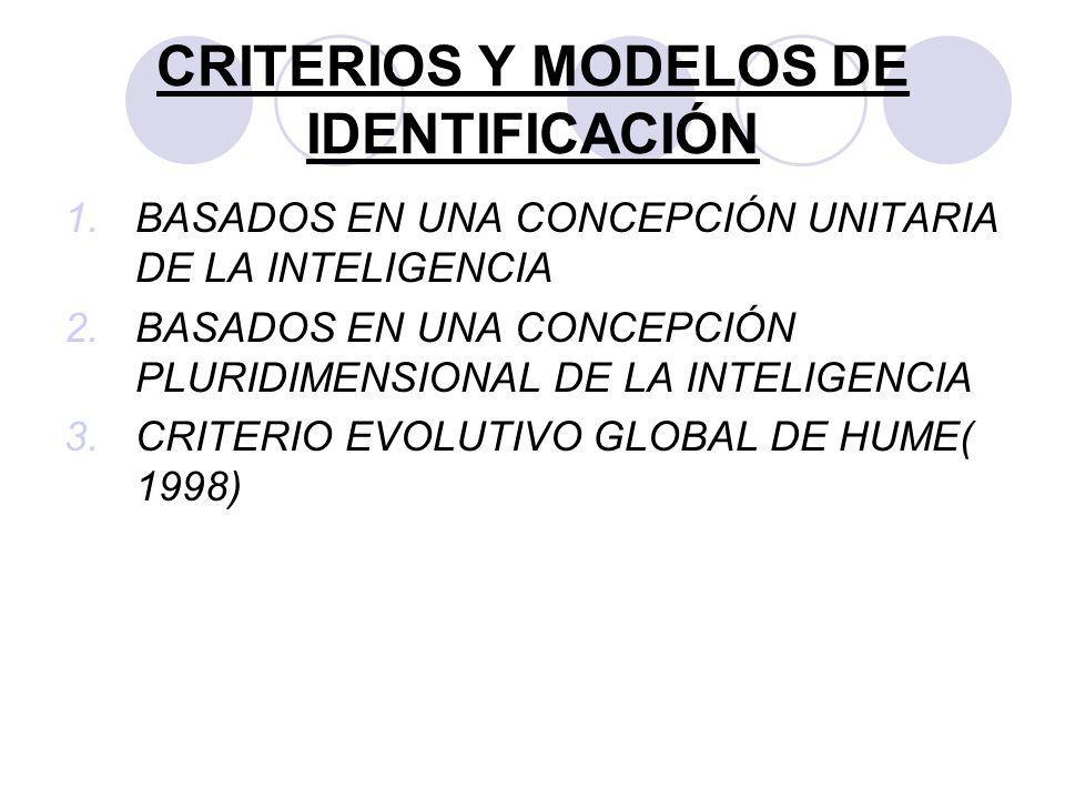 CRITERIOS Y MODELOS DE IDENTIFICACIÓN 1.BASADOS EN UNA CONCEPCIÓN UNITARIA DE LA INTELIGENCIA 2.BASADOS EN UNA CONCEPCIÓN PLURIDIMENSIONAL DE LA INTEL