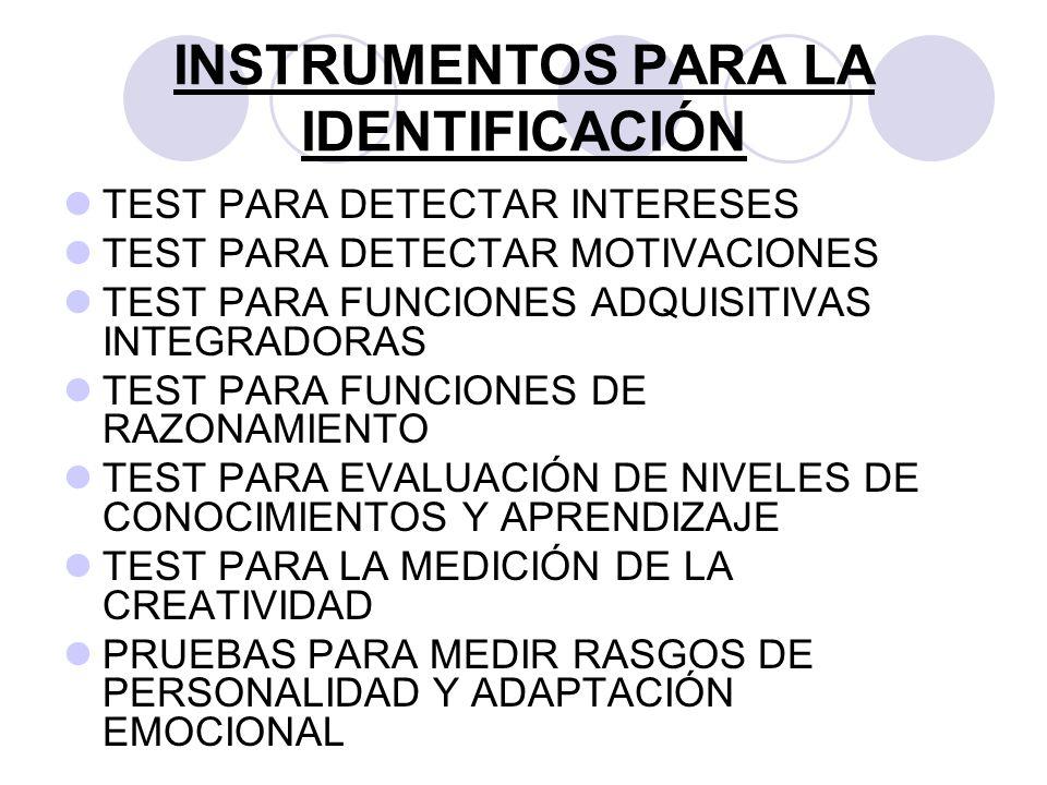 INSTRUMENTOS PARA LA IDENTIFICACIÓN TEST PARA DETECTAR INTERESES TEST PARA DETECTAR MOTIVACIONES TEST PARA FUNCIONES ADQUISITIVAS INTEGRADORAS TEST PA