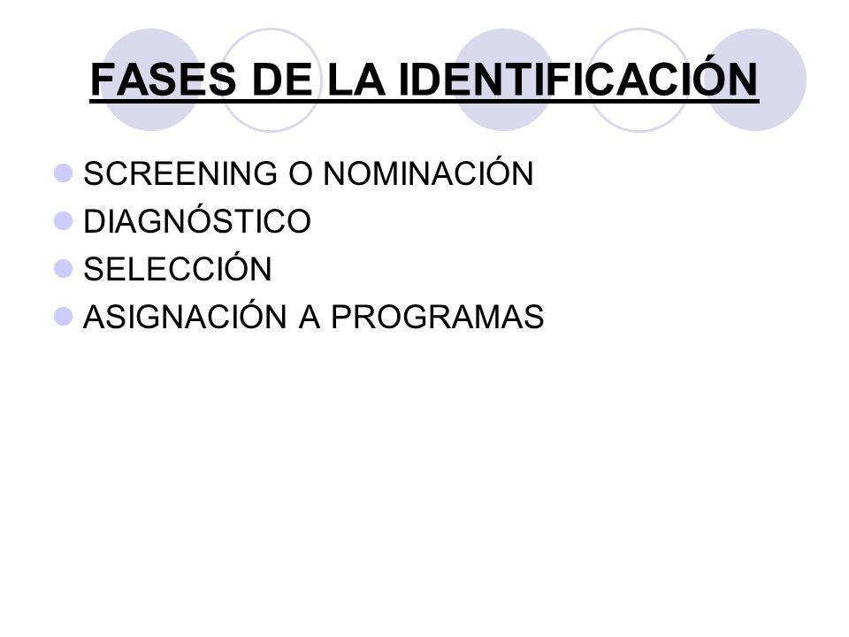 FASES DE LA IDENTIFICACIÓN SCREENING O NOMINACIÓN DIAGNÓSTICO SELECCIÓN ASIGNACIÓN A PROGRAMAS