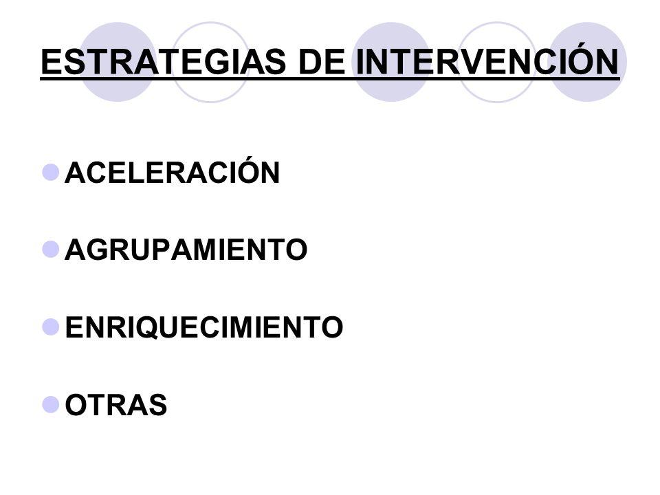 ESTRATEGIAS DE INTERVENCIÓN ACELERACIÓN AGRUPAMIENTO ENRIQUECIMIENTO OTRAS