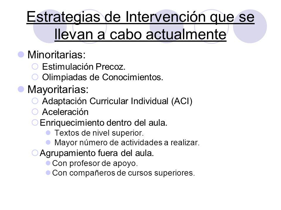 Estrategias de Intervención que se llevan a cabo actualmente Minoritarias: Estimulación Precoz. Olimpiadas de Conocimientos. Mayoritarias: Adaptación