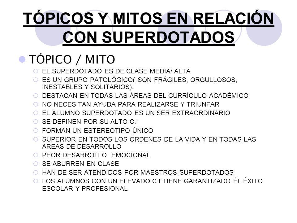 TÓPICOS Y MITOS EN RELACIÓN CON SUPERDOTADOS TÓPICO / MITO EL SUPERDOTADO ES DE CLASE MEDIA/ ALTA ES UN GRUPO PATOLÓGICO( SON FRÁGILES, ORGULLOSOS, IN