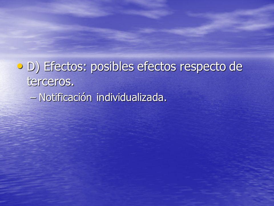 D) Efectos: posibles efectos respecto de terceros. D) Efectos: posibles efectos respecto de terceros. –Notificación individualizada.