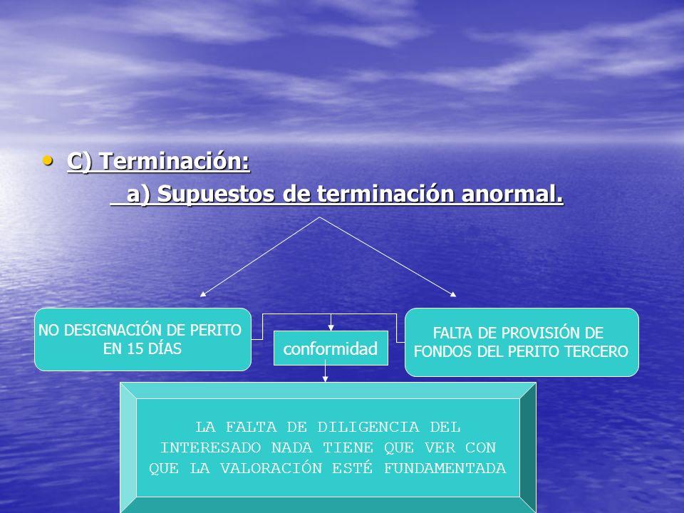 C) Terminación: C) Terminación: a) Supuestos de terminación anormal. NO DESIGNACIÓN DE PERITO EN 15 DÍAS FALTA DE PROVISIÓN DE FONDOS DEL PERITO TERCE