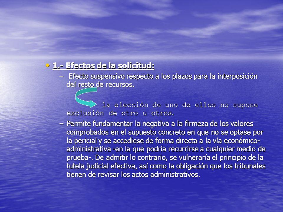1.- Efectos de la solicitud: 1.- Efectos de la solicitud: – Efecto suspensivo respecto a los plazos para la interposición del resto de recursos. la el