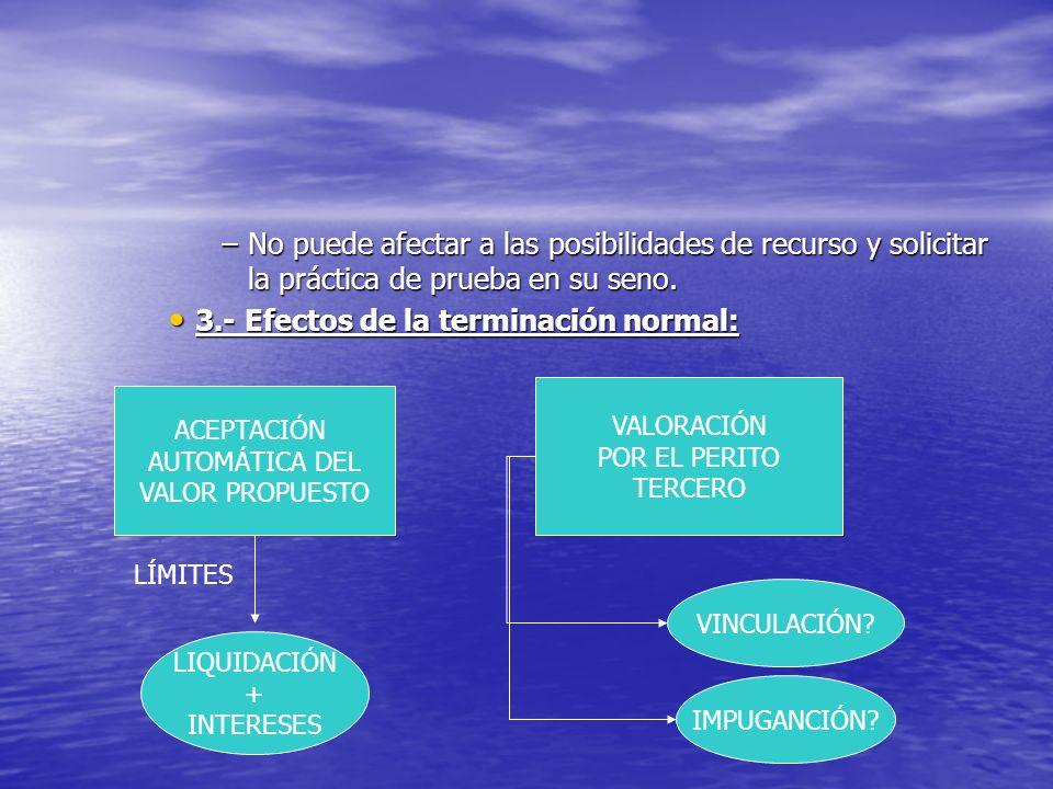 –No puede afectar a las posibilidades de recurso y solicitar la práctica de prueba en su seno. 3.- Efectos de la terminación normal: 3.- Efectos de la