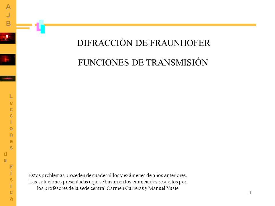 1 DIFRACCIÓN DE FRAUNHOFER FUNCIONES DE TRANSMISIÓN Estos problemas proceden de cuadernillos y exámenes de años anteriores. Las soluciones presentadas