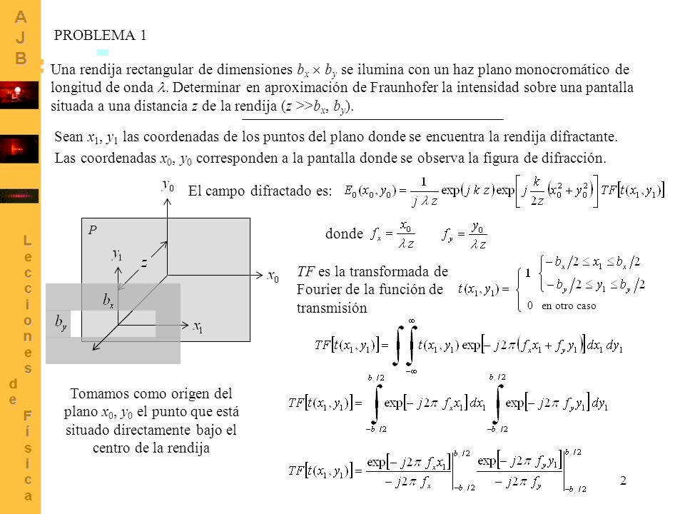 2 Una rendija rectangular de dimensiones b x b y se ilumina con un haz plano monocromático de longitud de onda. Determinar en aproximación de Fraunhof