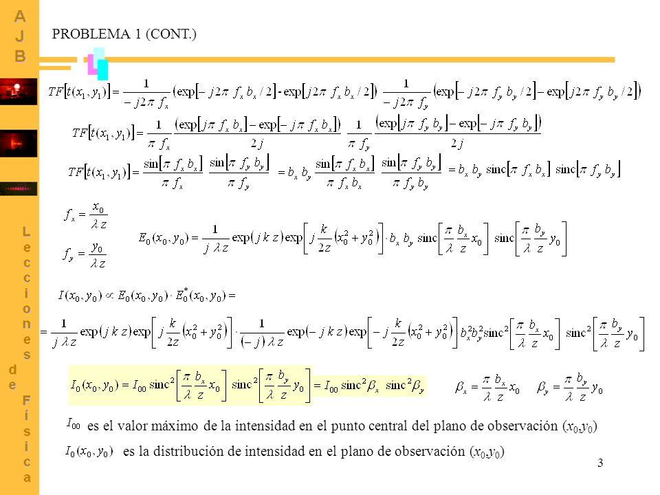 3 PROBLEMA 1 (CONT.) es la distribución de intensidad en el plano de observación (x 0,y 0 ) es el valor máximo de la intensidad en el punto central de