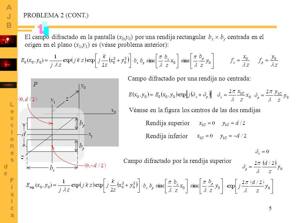 5 PROBLEMA 2 (CONT.) El campo difractado en la pantalla (x 0,y 0 ) por una rendija rectangular b x b y centrada en el origen en el plano (x 1,y 1 ) es