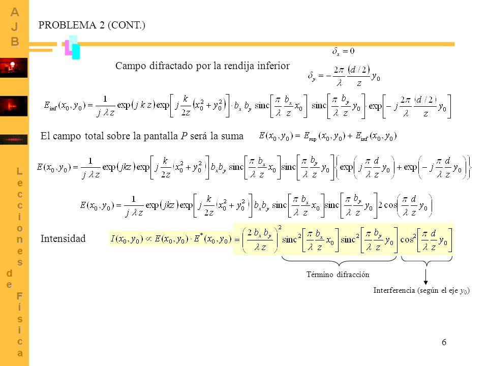 6 Campo difractado por la rendija inferior El campo total sobre la pantalla P será la suma Intensidad PROBLEMA 2 (CONT.) Término difracción Interferen