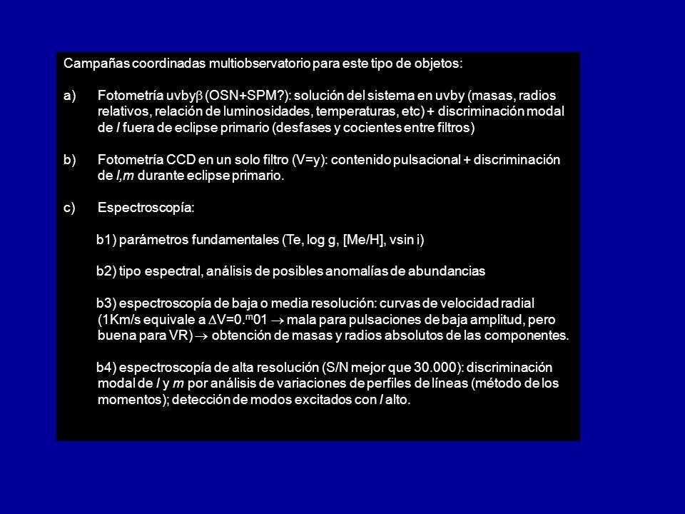 Campañas coordinadas multiobservatorio para este tipo de objetos: a) a)Fotometría uvby (OSN+SPM?): solución del sistema en uvby (masas, radios relativ