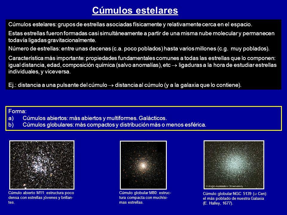 Cúmulos estelares Cúmulo abierto M11: estructura poco densa con estrellas jóvenes y brillan- tes. Cúmulo globular M80: estruc- tura compacta con muchí