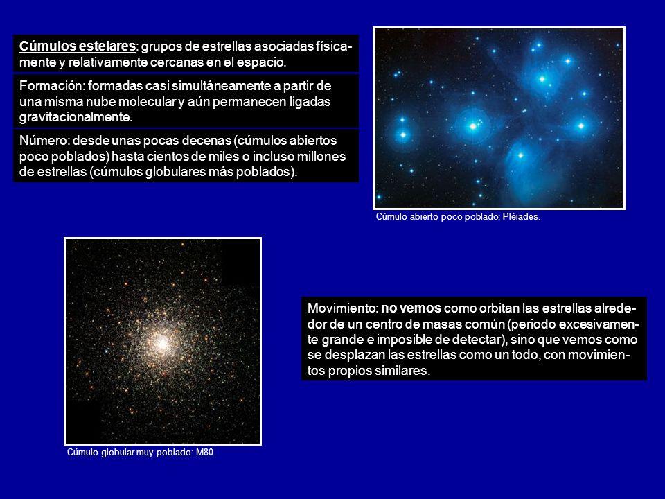 Cúmulos estelares: grupos de estrellas asociadas física- mente y relativamente cercanas en el espacio. Cúmulo abierto poco poblado: Pléiades. Cúmulo g