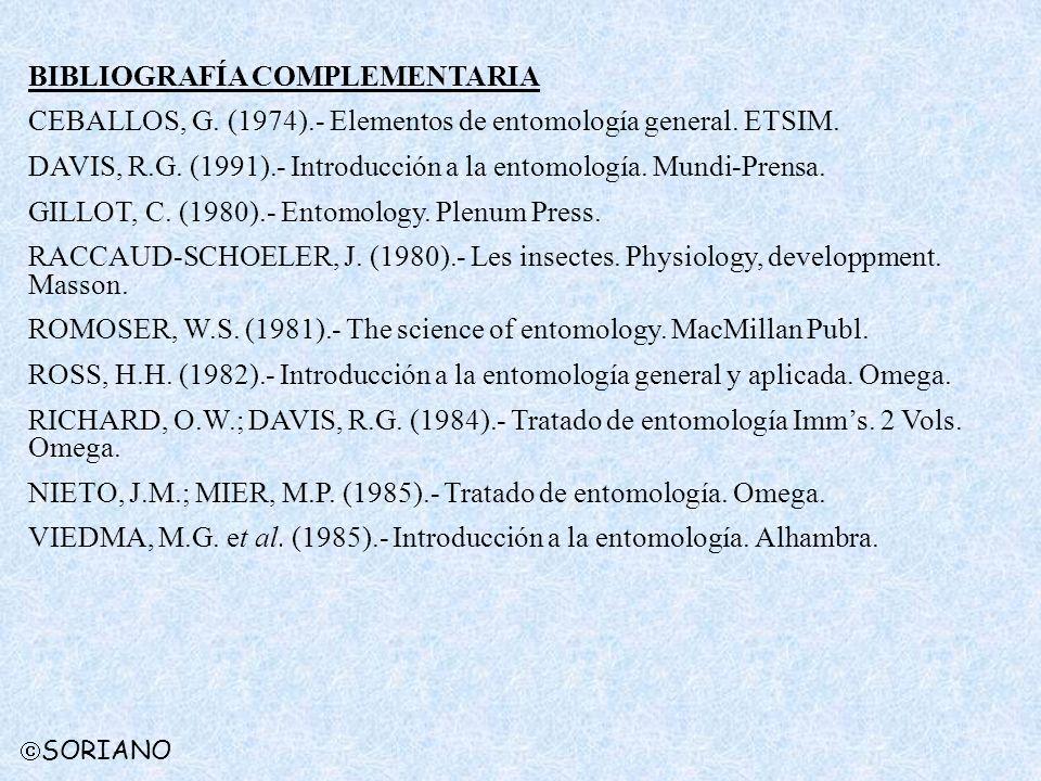 BIBLIOGRAFÍA COMPLEMENTARIA CEBALLOS, G. (1974).- Elementos de entomología general. ETSIM. DAVIS, R.G. (1991).- Introducción a la entomología. Mundi-P