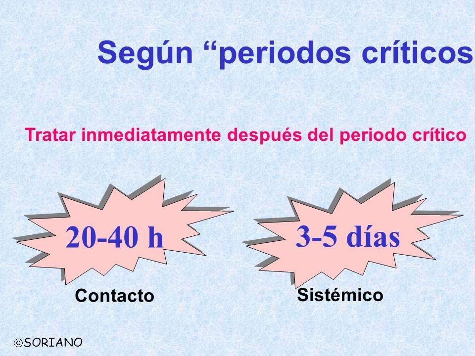 Según periodos críticos SORIANO Tratar inmediatamente después del periodo crítico 20-40 h 3-5 días Contacto Sistémico