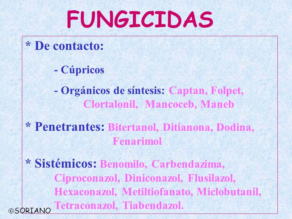 FUNGICIDAS * De contacto: - Cúpricos - Orgánicos de síntesis: Captan, Folpet, Clortalonil, Mancoceb, Maneb * Penetrantes: Bitertanol, Ditianona, Dodin