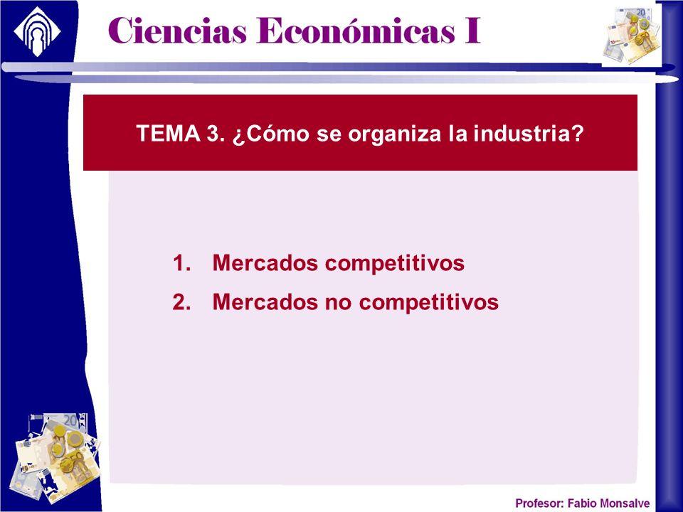 TEMA 3. ¿Cómo se organiza la industria? 1.Mercados competitivos 2.Mercados no competitivos