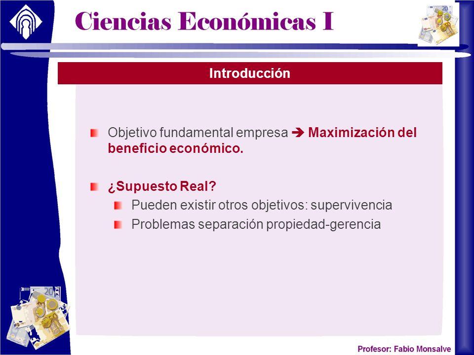 Introducción Objetivo fundamental empresa Maximización del beneficio económico. ¿Supuesto Real? Pueden existir otros objetivos: supervivencia Problema