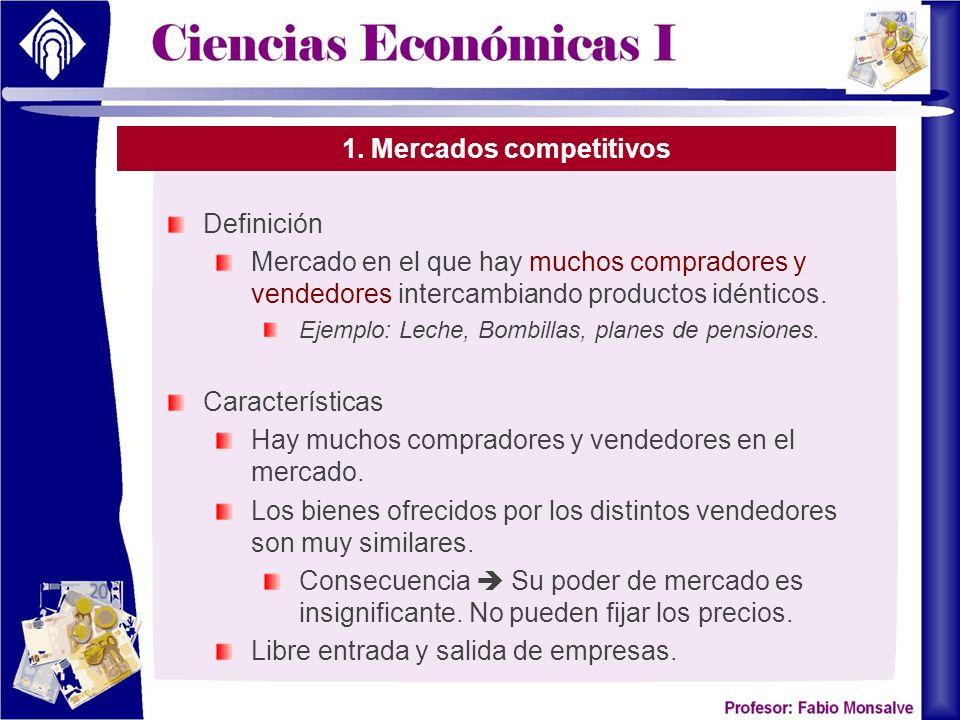 1. Mercados competitivos Definición Mercado en el que hay muchos compradores y vendedores intercambiando productos idénticos. Ejemplo: Leche, Bombilla